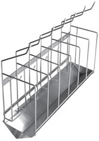 Hospital bedpan and bottle racks made from stainless steel