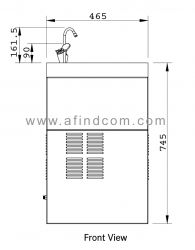 wall mounted chiller front view diagram