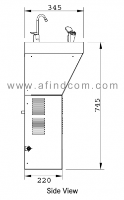 wall mounted chiller side view diagram