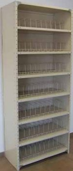 Closed steel powder coated shelving