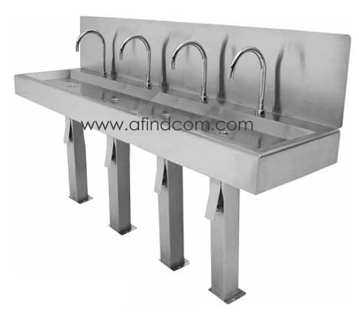 knee operated hands free wash basin 4 people four stainless steel food industry
