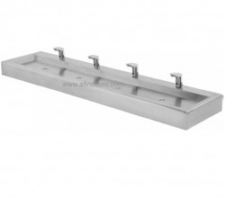 Flat bed FB24 hand wash basin with four hand washing bays is ideal for larger food processing factories. Common taps are infra red hands free taps or foot operated valves. Knee operated valves are also available.