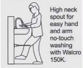 Walcro SSP15 high neck basin spout diagram installation hands free tap