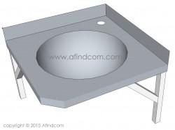 corner basin stainless steel hands free industrial commercial sink