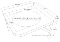 Stainless steel corner basin diagram
