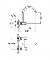 wall mounted tap dimensions