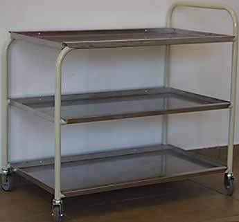 hospital medicine trolley tea office stainless steel three shelves wheels