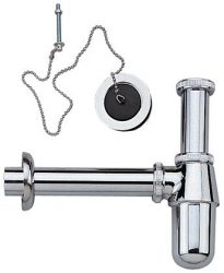 Plug and chain p-trap for basins