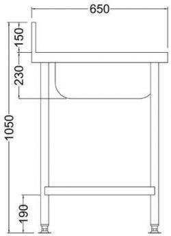 single-bowl-atering-sink-diagram-side
