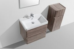 compact modern double drawer bathroom cabinet oak