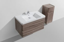 wood silver oak veneer bathroom vanity single bowl wall hung