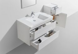 white modern bathroom cabinet with drawers