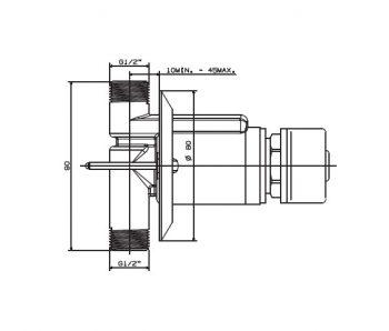 Cobra KM2-301 undertile metered stop tap dimensions