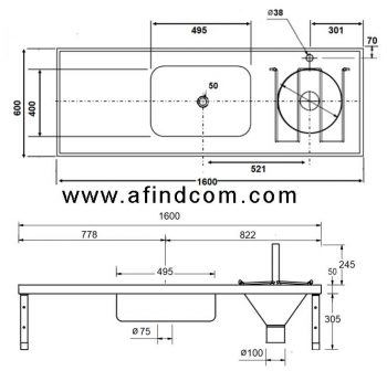 Slop hopper basin combo one level with flush valve dimensions