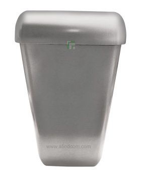 silver plastic wall hung rubbish bin